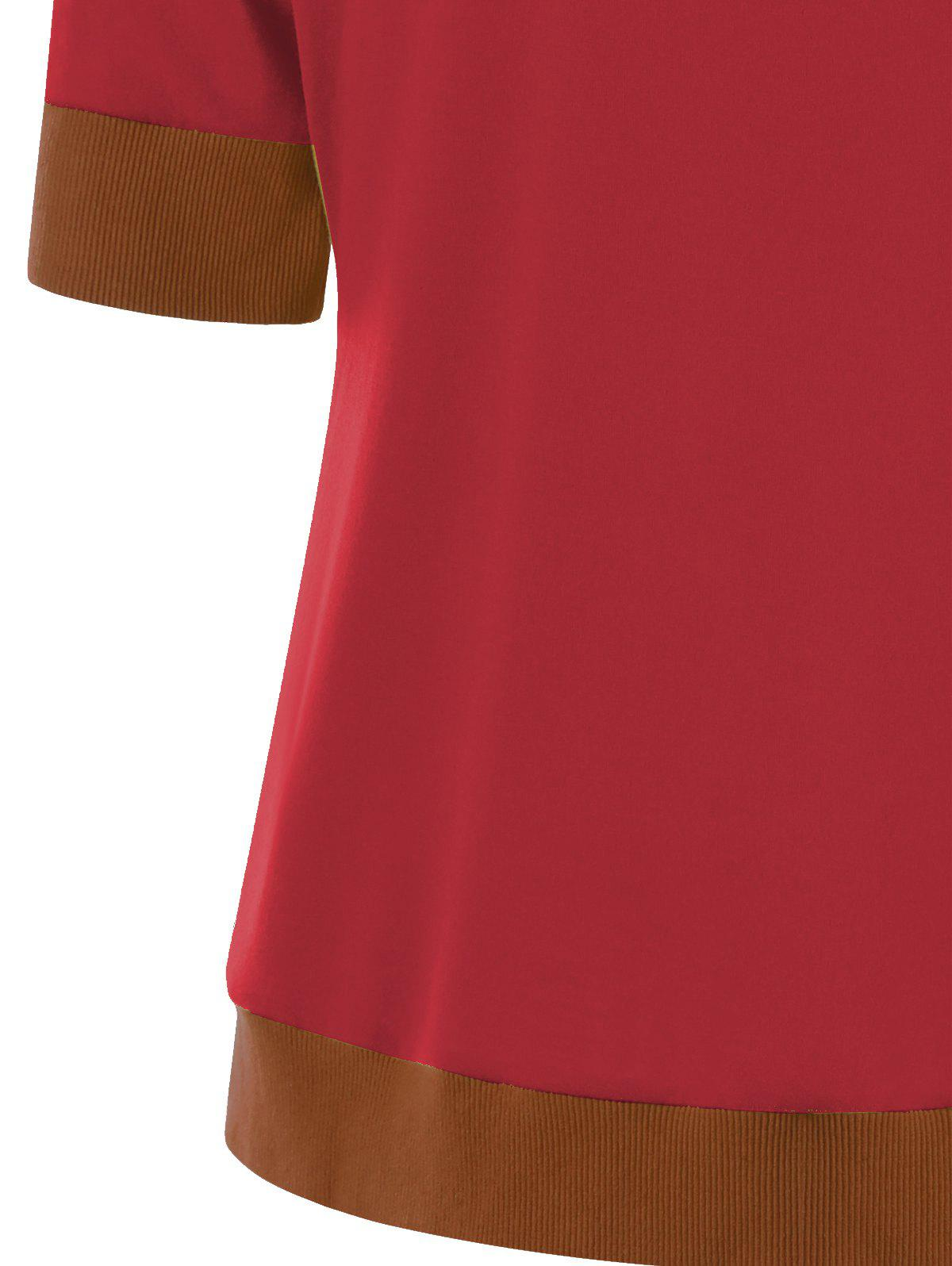 Button Tunic Ringer T-shirt - RED M