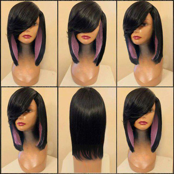 Medium Side Parting Colormix Straight Feathered Synthetic Wig long side parting straight colormix synthetic lace front wig