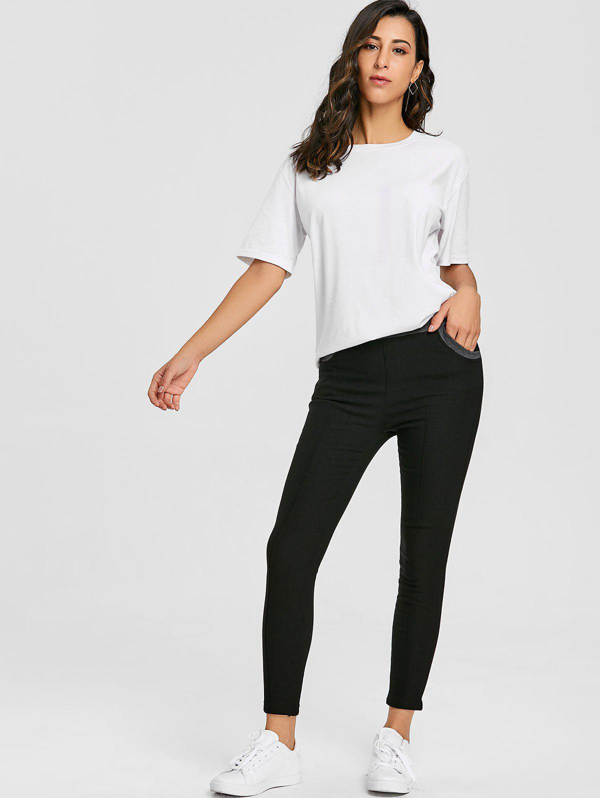 Skinny High Waisted Pencil Pants - BLACK L