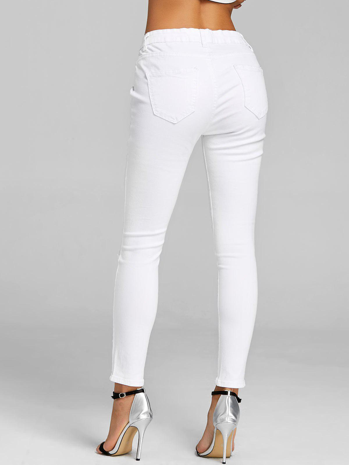 Broderie florale Skinny Jeans Distressed - Blanc M