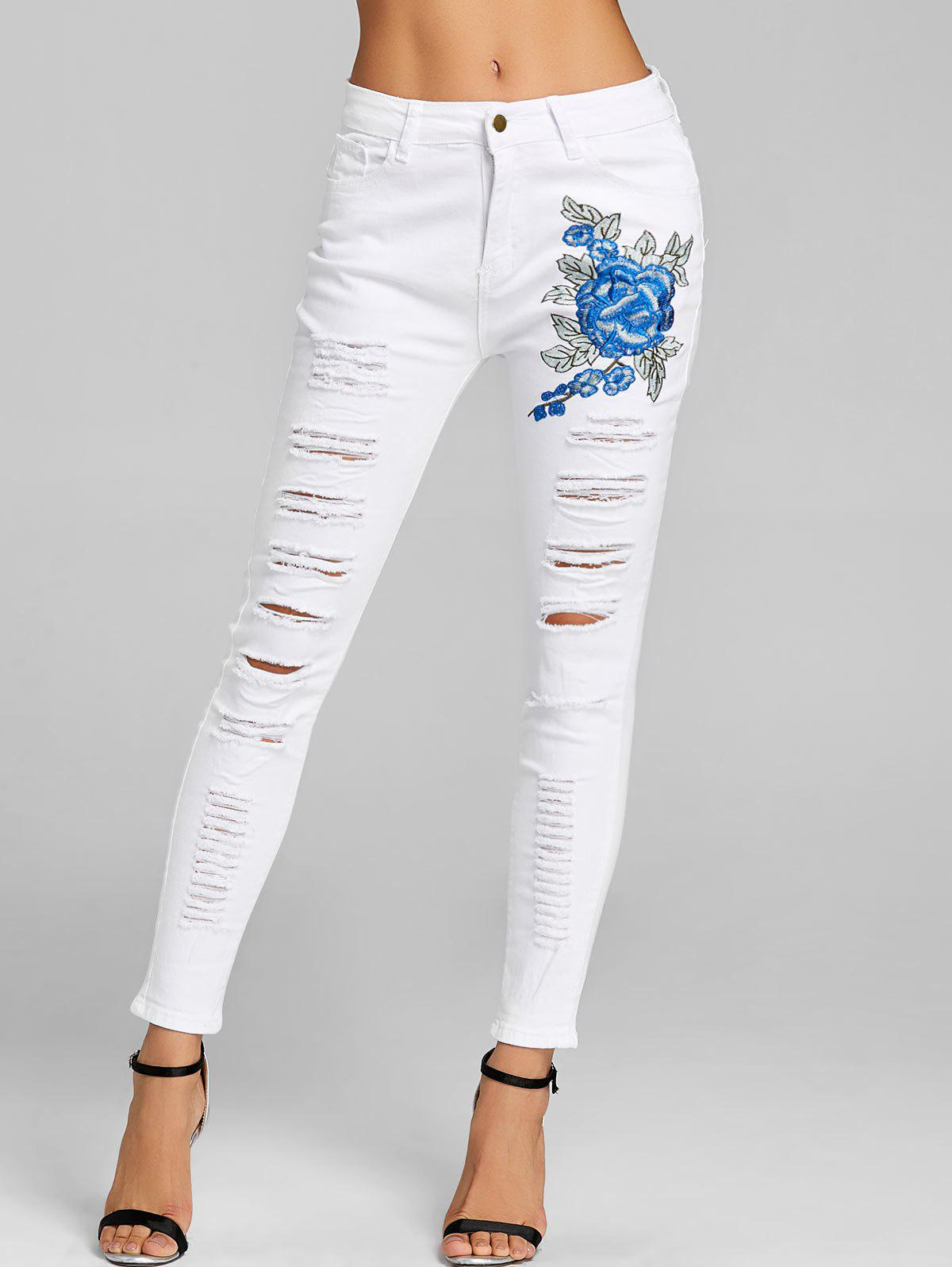 Floral Embroidery Distressed Skinny Jeans - WHITE XL