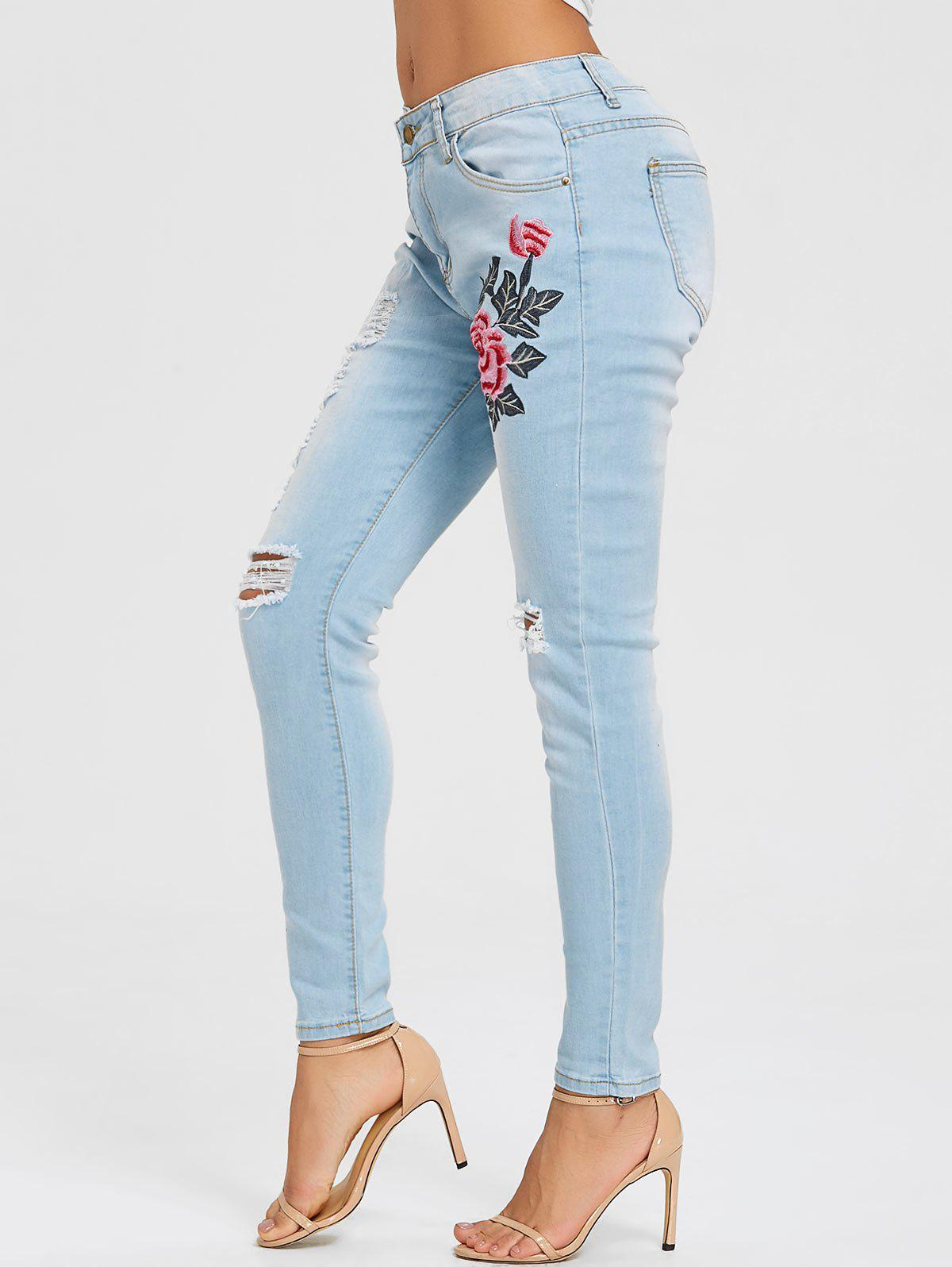 Floral Embroidery Distressed Skinny Jeans - LIGHT BLUE XL