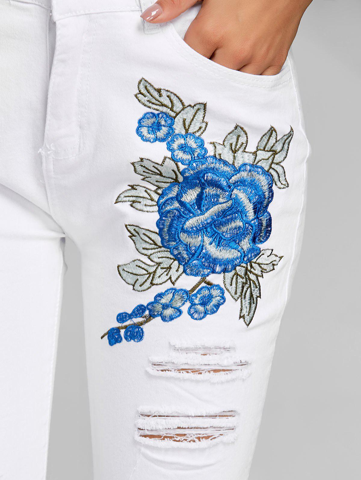 Broderie florale Skinny Jeans Distressed - Blanc XL