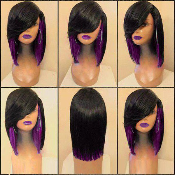 Medium Side Parting Colormix Straight Feathered Synthetic Wig - BLACK/PURPLE