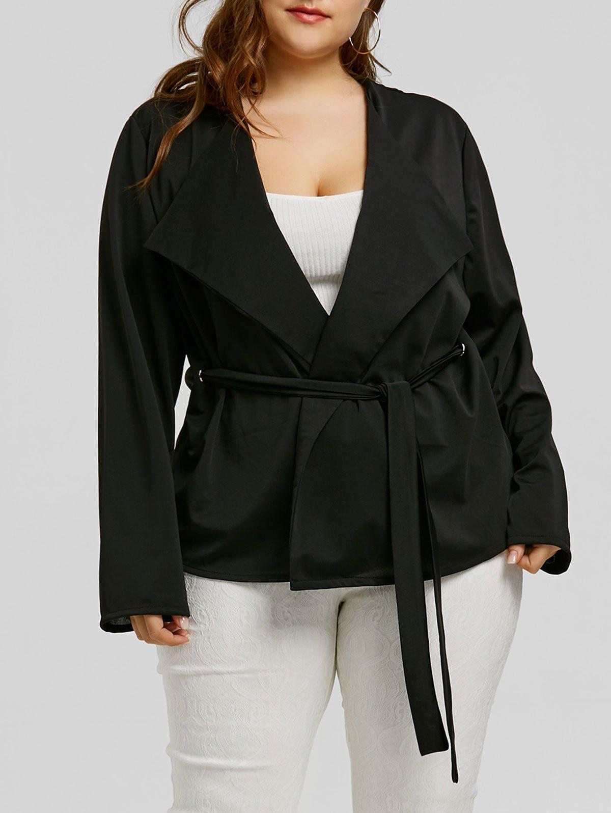 Belted Plus Size Short Coat - BLACK 3XL