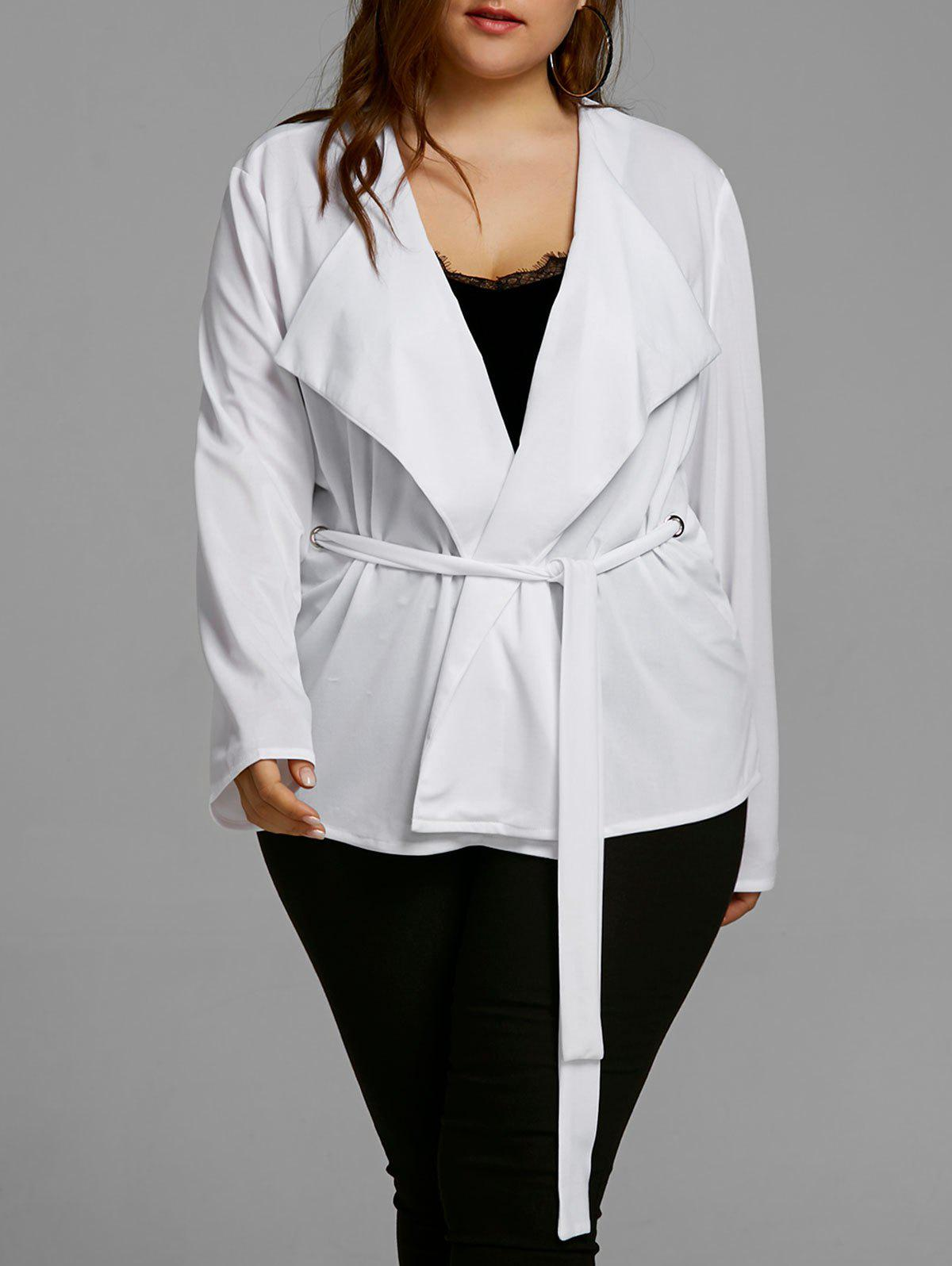 Belted Plus Size Short Coat - WHITE 3XL