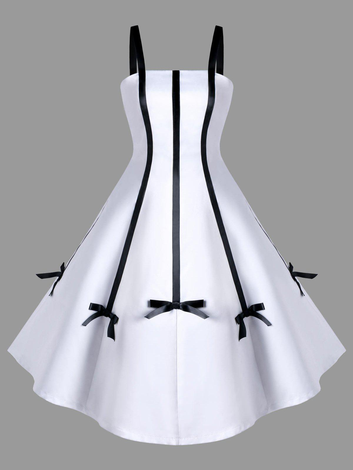 Two Tone Bowknot Embellished Swing Dress - WHITE M