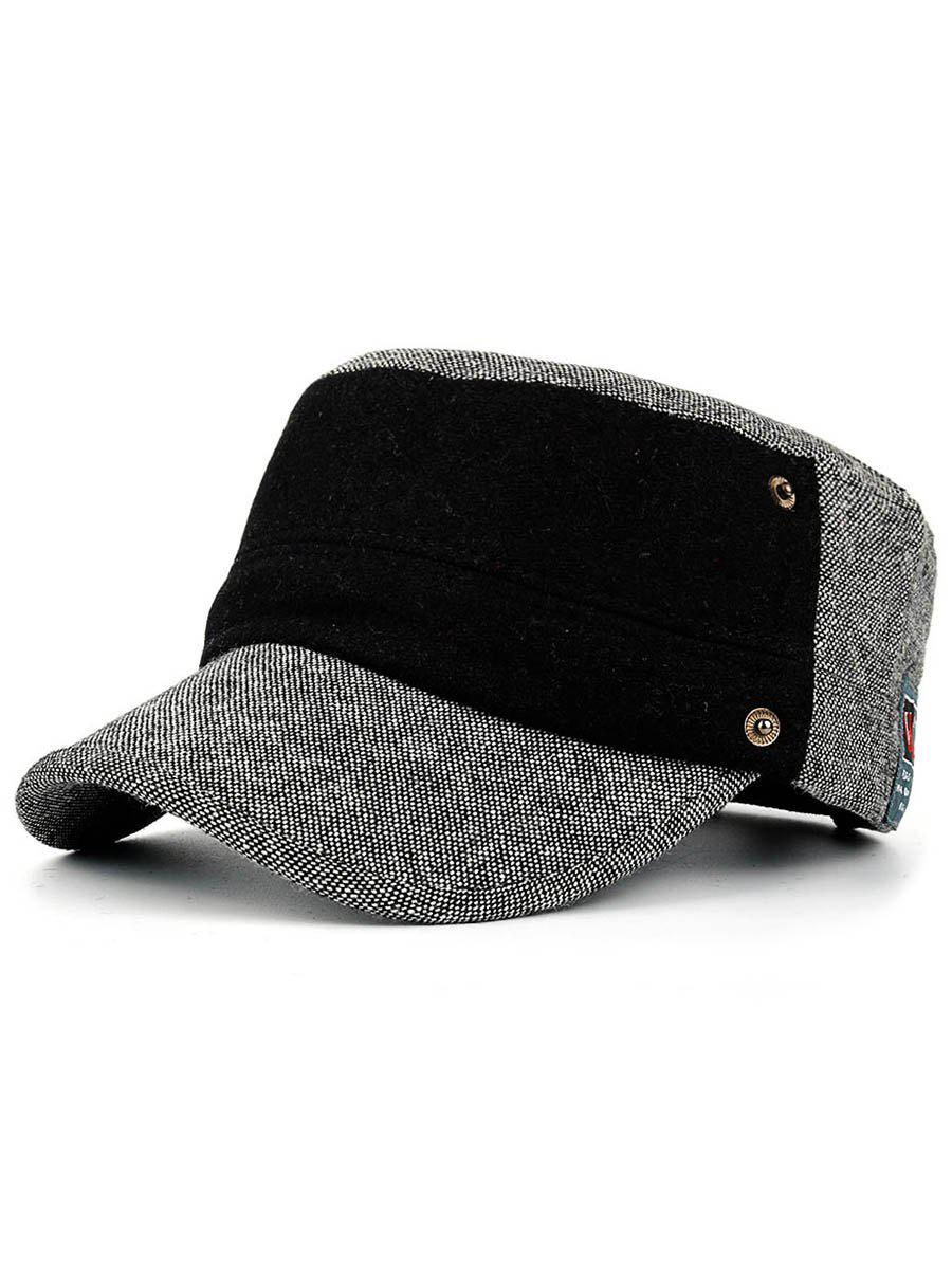 Simple Label Pattern Decorated Flat Top Military Hat - LIGHT GREY