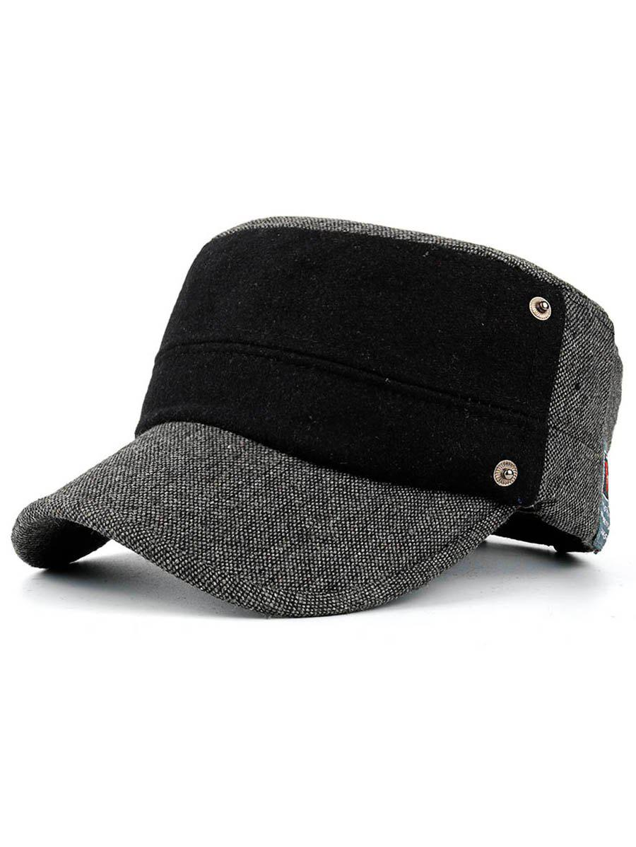 Simple Label Pattern Decorated Flat Top Military Hat - DARK GRAY