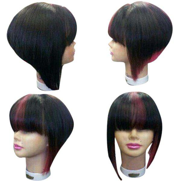 Medium Colormix Full Bang Straight Inverted Bob Synthetic Wig - RED/BLACK