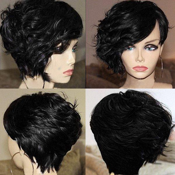 Short Oblique Bang Layered Fluffy Curly Synthetic Wig - BLACK
