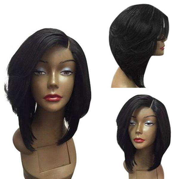 Medium Side Parting Feathered Straight Bob Synthetic Wig - BLACK