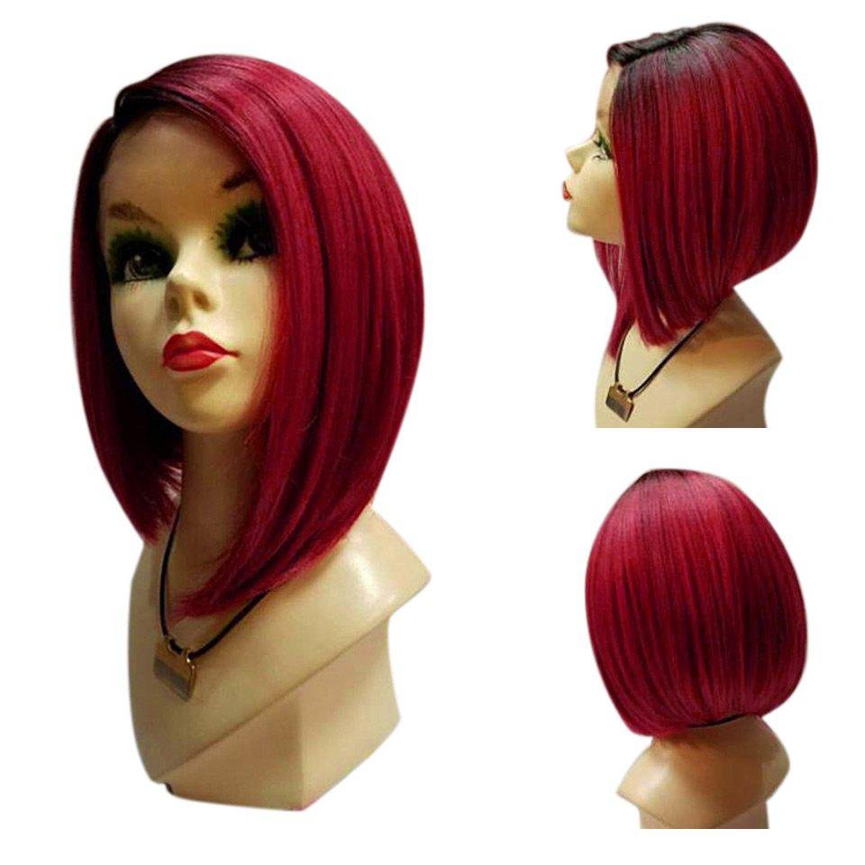 Medium Side Parting Straight Ombre Bob Synthetic Wig - BLACK/RED