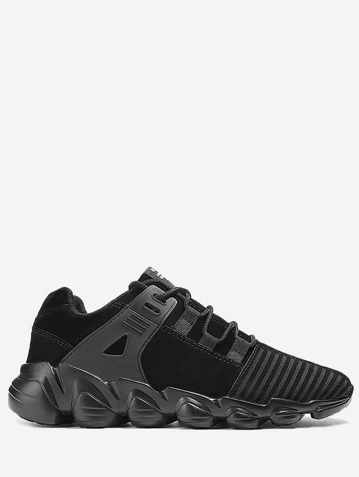 Striped Stitching Lace Up Sneakers - BLACK 42