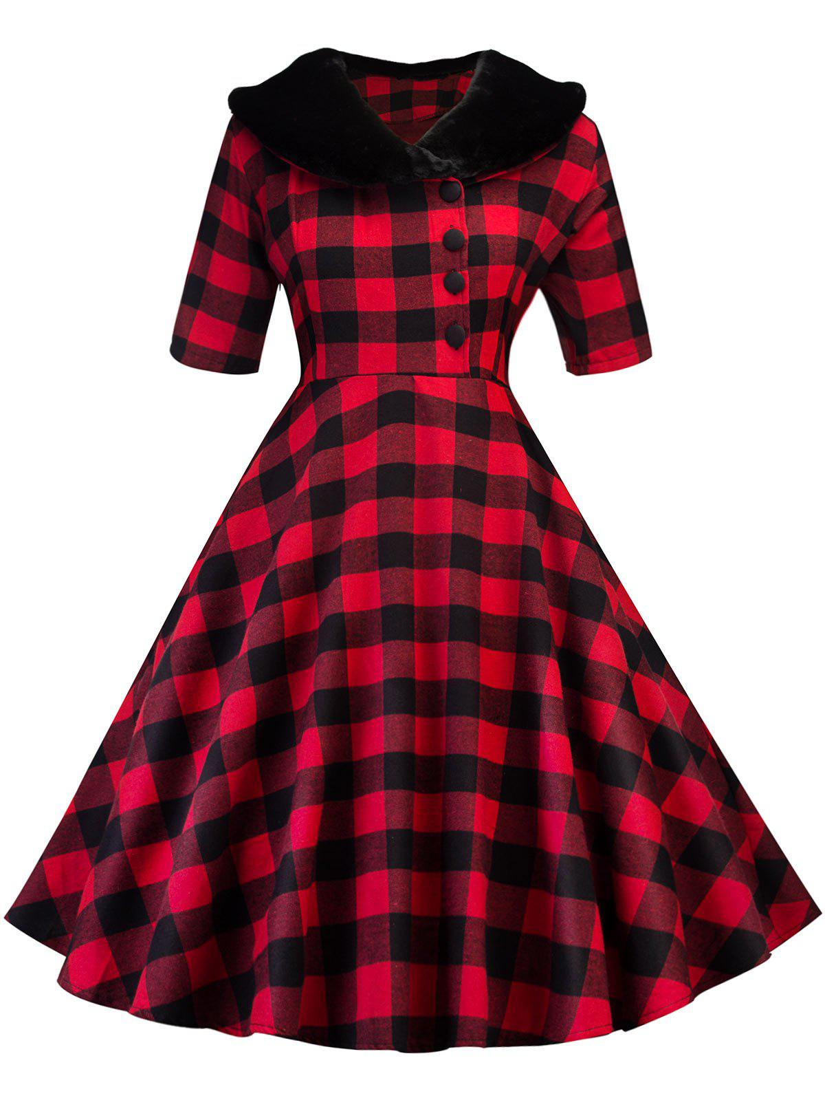 Vintage Plaid Fit and Flare Swing Dress zip back fit and flared plaid dress