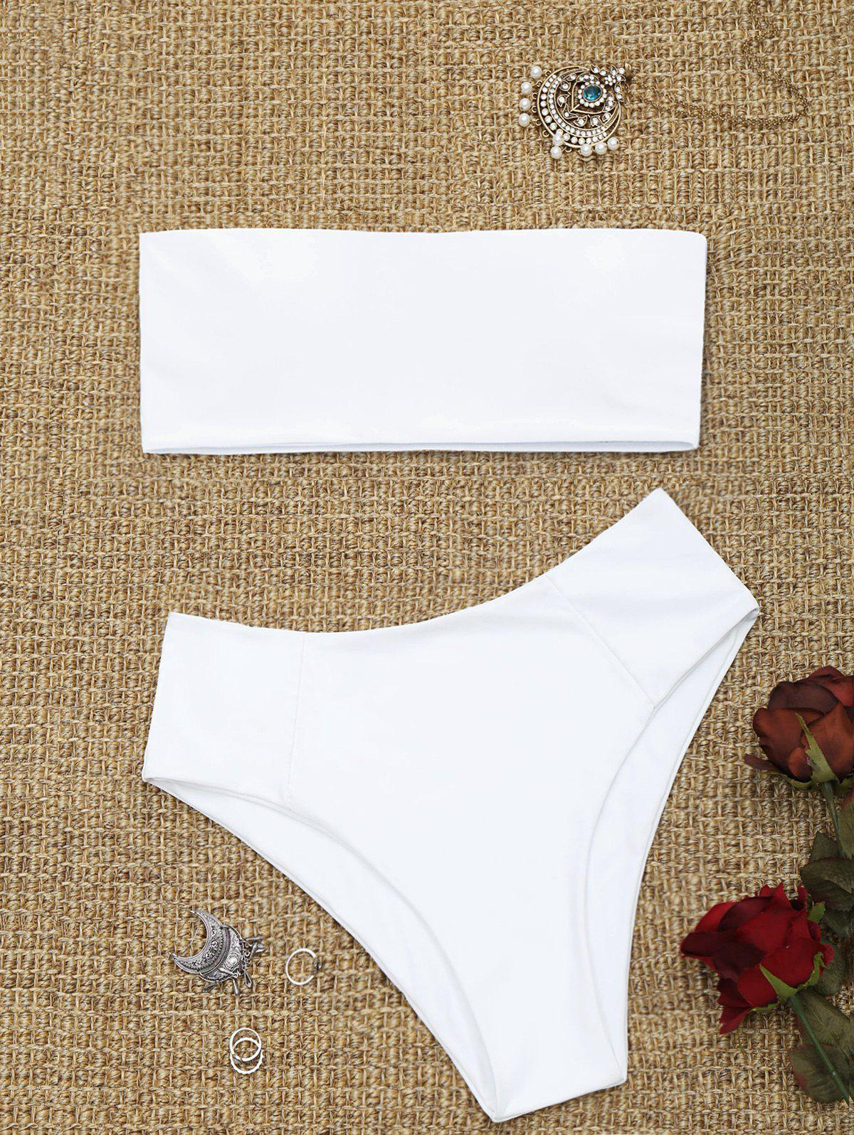 Bandeau Collar High Cut Bikini Set - WHITE S