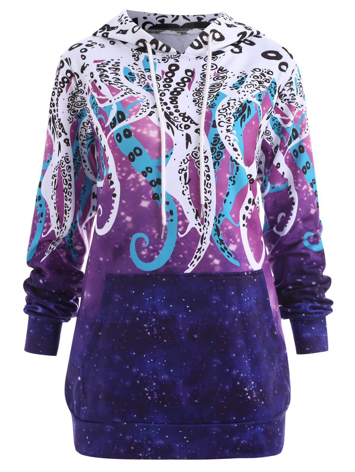 Plus Size Octopus Galaxy Print Hoodie with Pocket plus size plain drop shoulder hoodie with pocket