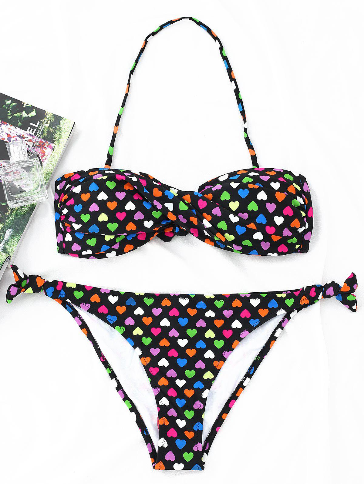 Twist Bandeau Hearts Print Bikini Set marxism and darwinism