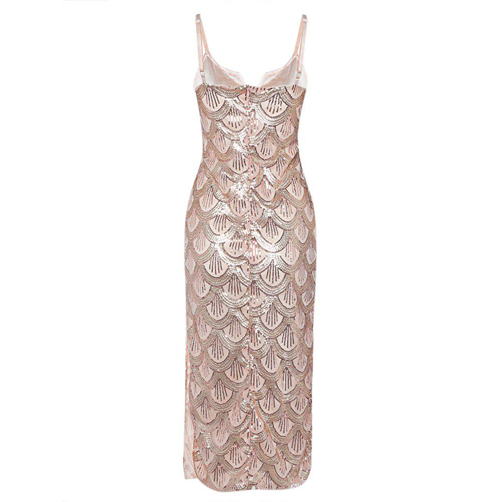 Sexy V Neck Backless Spaghetti Sparkly Glitter Sequins Dress Party Club Wearing - PINK M