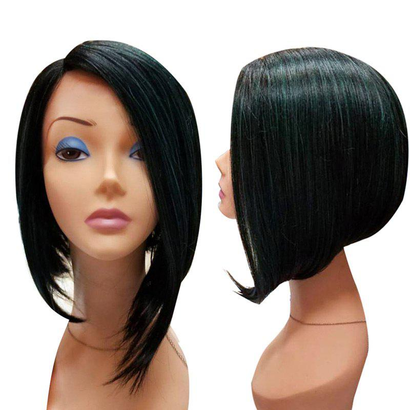 Medium Colormix Side Parting Asymmetric Straight Bob Synthetic Wig - BLACK/GREEN