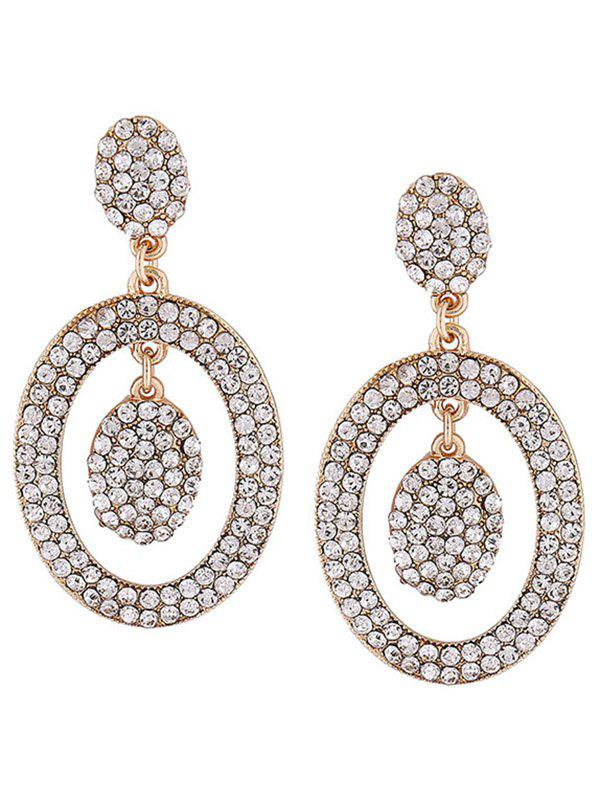Pair of Rhinestone Inlay Oval Drop Earrings rhinestone inlay alloy bracelet oval watch