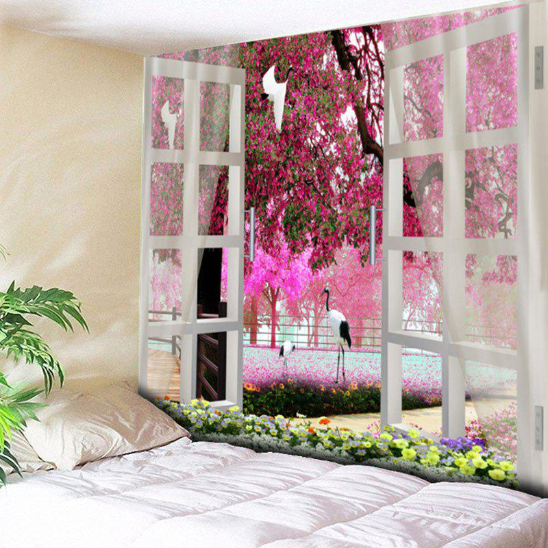 Window Flower Tree Pattern House Decor Wall Hanging Tapestry