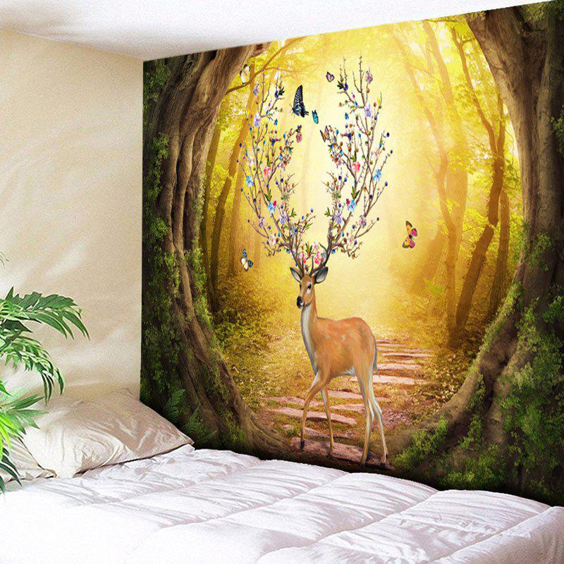 Artistic Elk and Butterfly Pattern Wall Hanging Tapestry