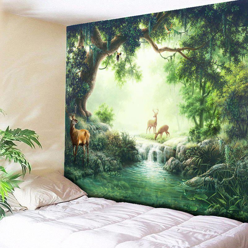 Wall Decor Elks Nature Forest Printed Hanging Tapestry, Green