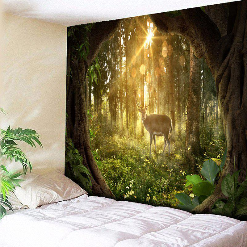Forest Sunrise and Elk Print Decorative Wall Hanging Tapestry forest print wall hanging decorative tapestry
