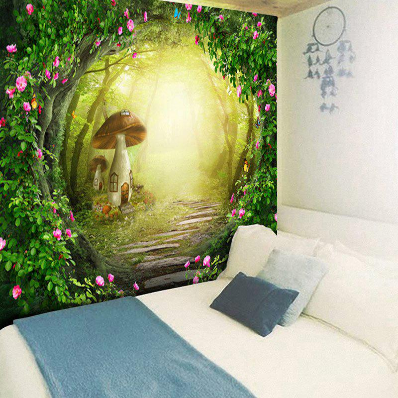 Fantasy Mushroom House Pattern Decoratrive Wall Hanging Tapestry - GREEN W79 INCH * L59 INCH