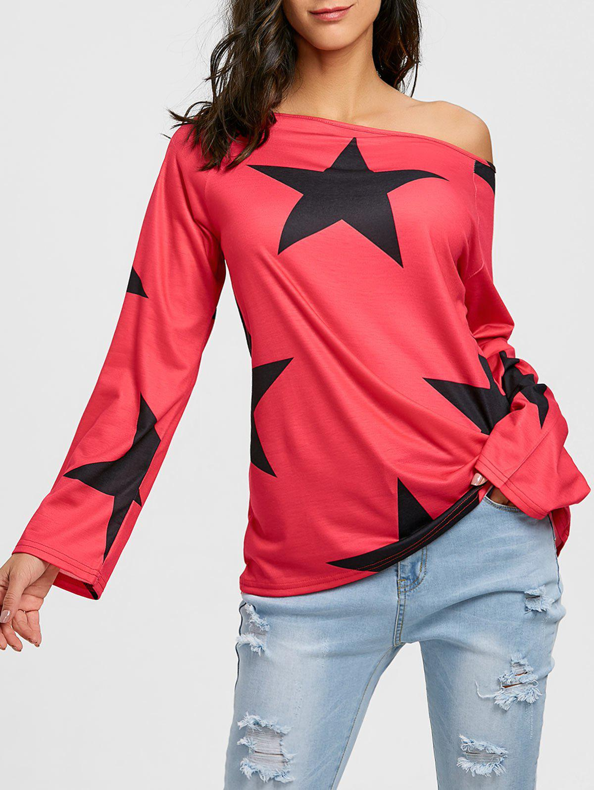 Star Print Raglan Sleeve Tunic T-shirt - RED S