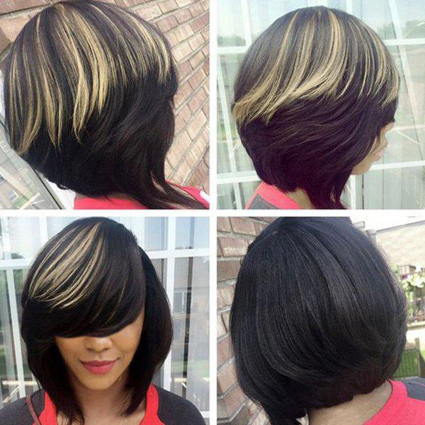 Short Inclined Bang Highlight Straight Bob Synthetic Wig short pixie cut capless straight inclined bang synthetic wig