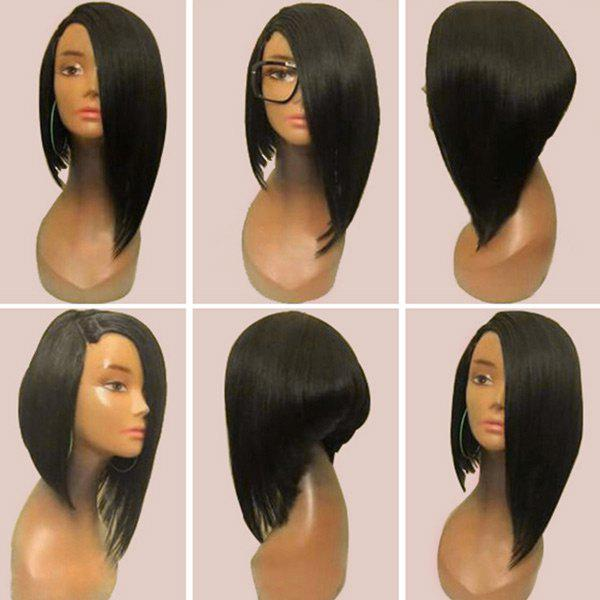 Medium Side Parting Straight High Low Inverted Bob Synthetic Wig - BLACK