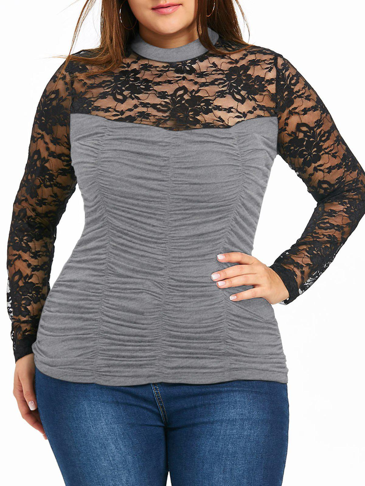 Plus Size Sheer Mock Neck Smocked Top - HEATHER GRAY XL