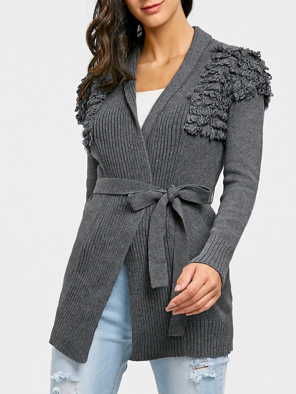 Collarless Ribbed Wrap Cardigan - DEEP GRAY ONE SIZE