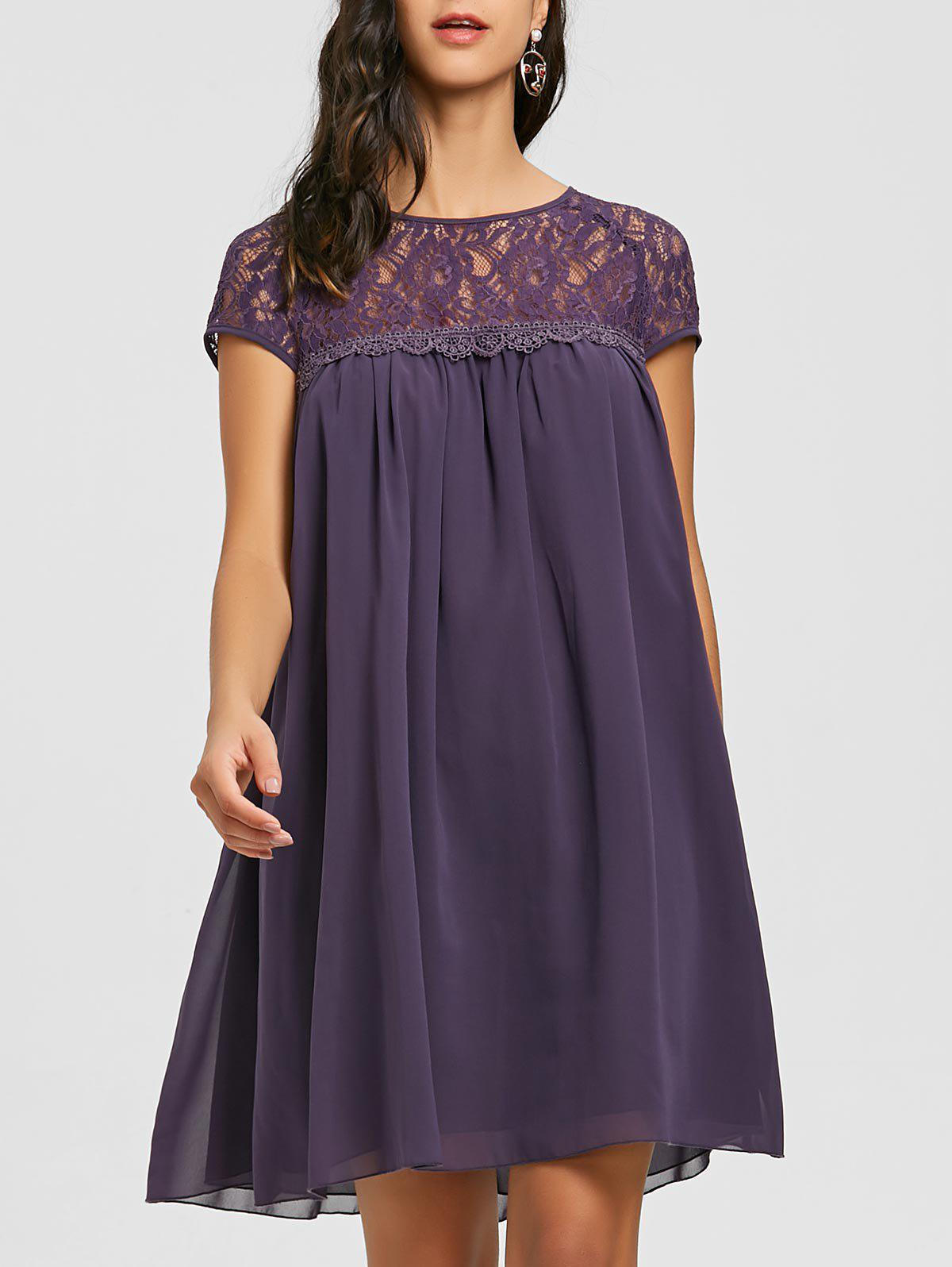 Lace Panel Flowy Babydoll Dress - PURPLE L