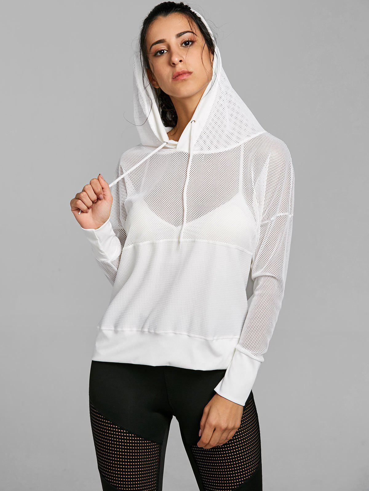 Drop Shoulder Mesh Insert Hooded Sports Top mesh open shoulder side ruched lattice top