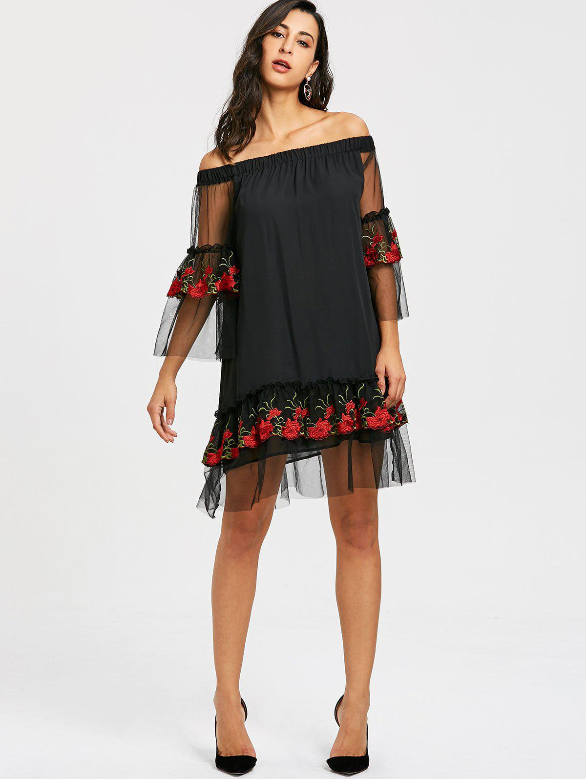Embroidery Bell Sleeve Drop Waist Dress - BLACK M