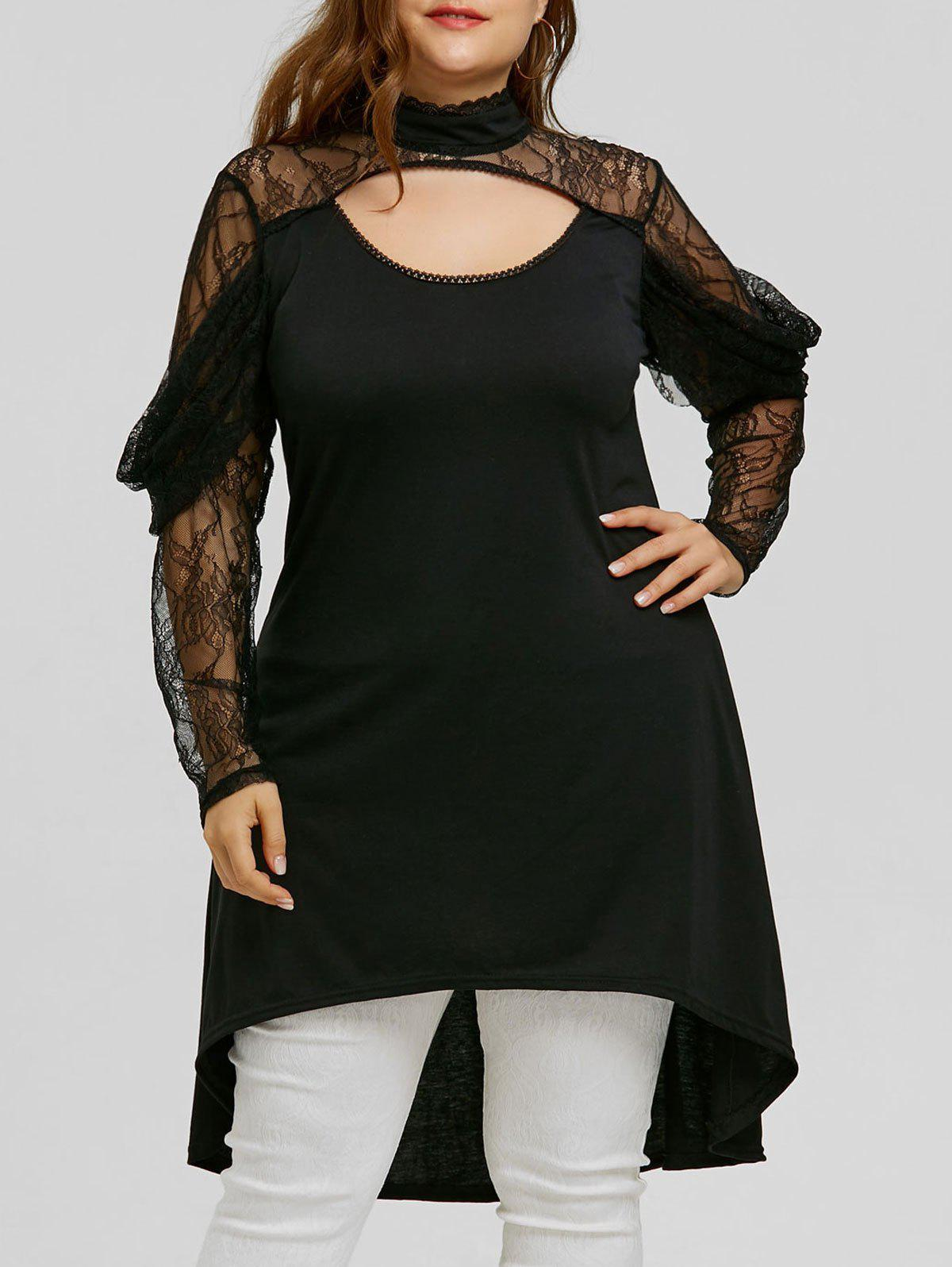 Lace Sleeve Plus Size High Low Blouse free shipping 10pcs 100% new pico