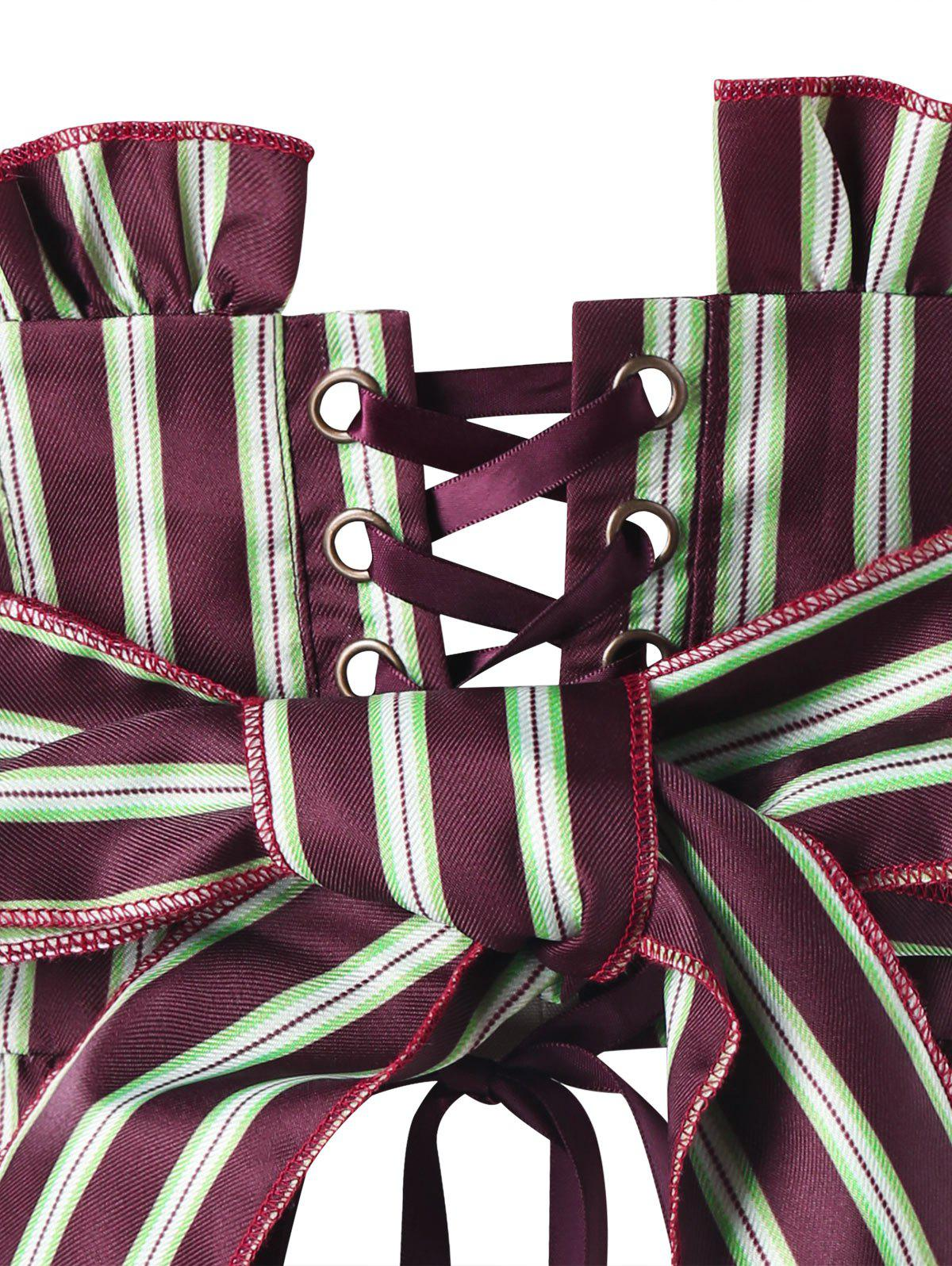 Striped Ruffles Back Lace Up Corset - WINE RED 2XL