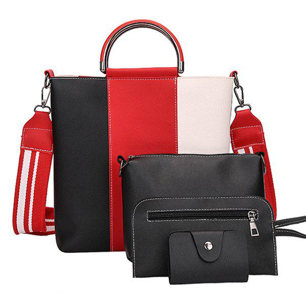Striped Color Blocking 4 Pieces Handbag Set - BLACK