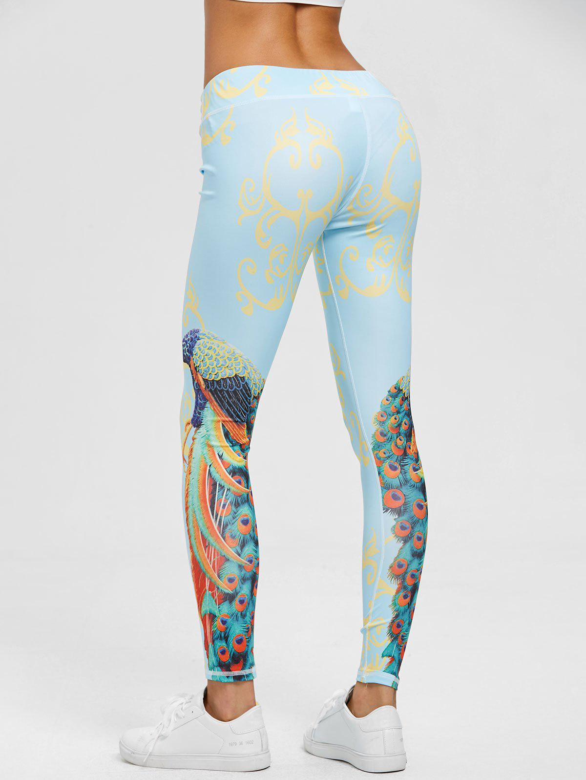Peacock Print Leggings - FLORAL S