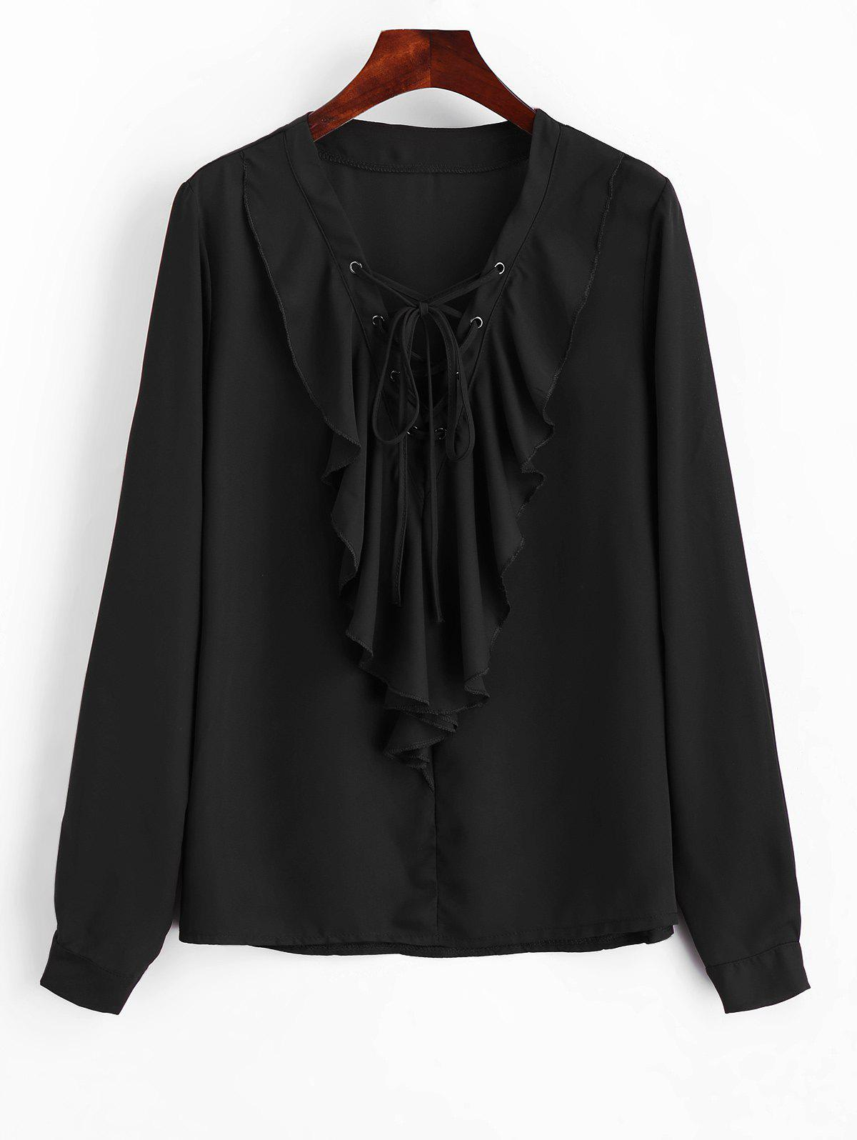 Lace Up Ruffles Blouse en mousseline de soie - Noir S