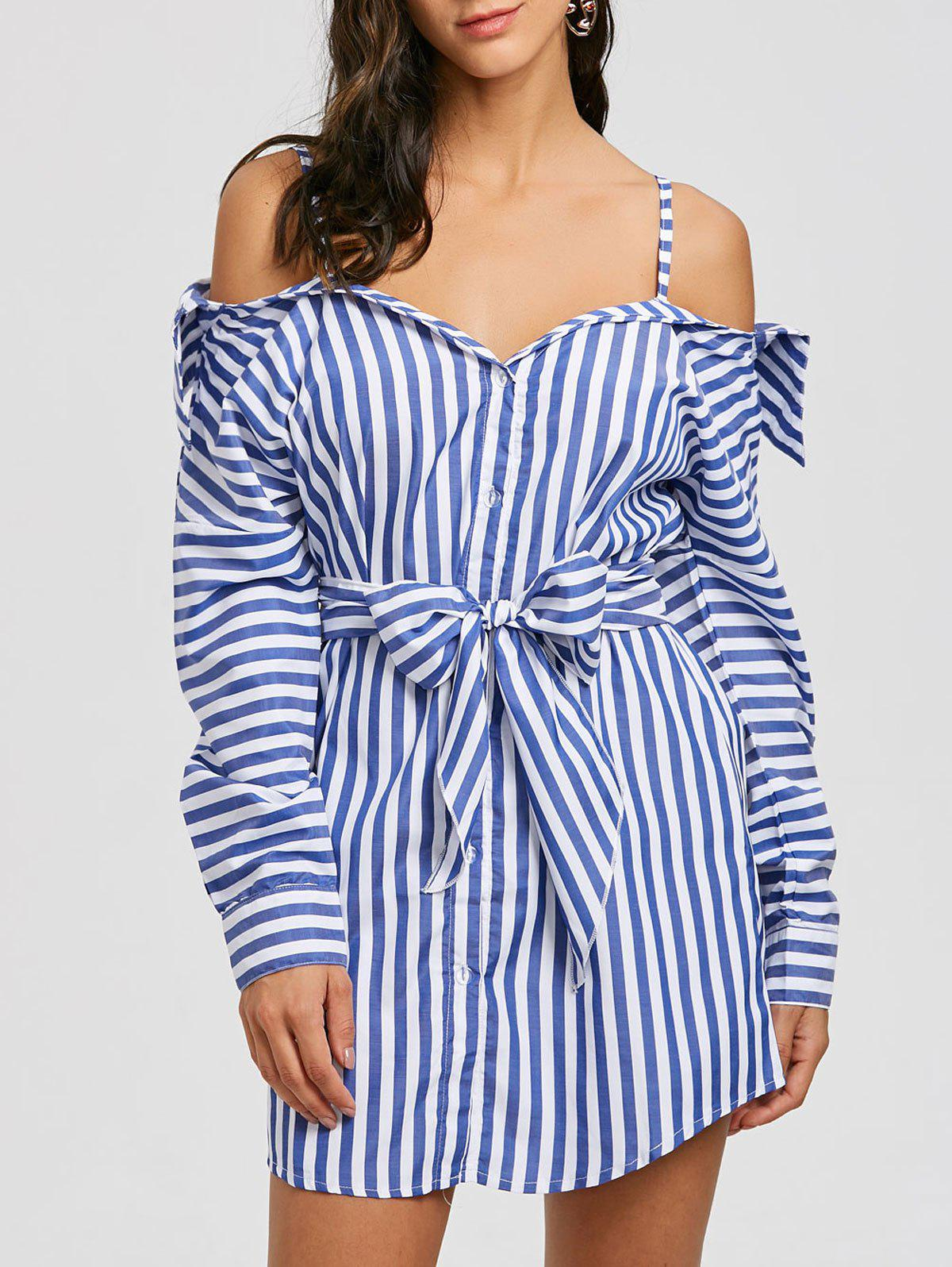Button Up Striped Spaghetti Strap Dress - BLUE S