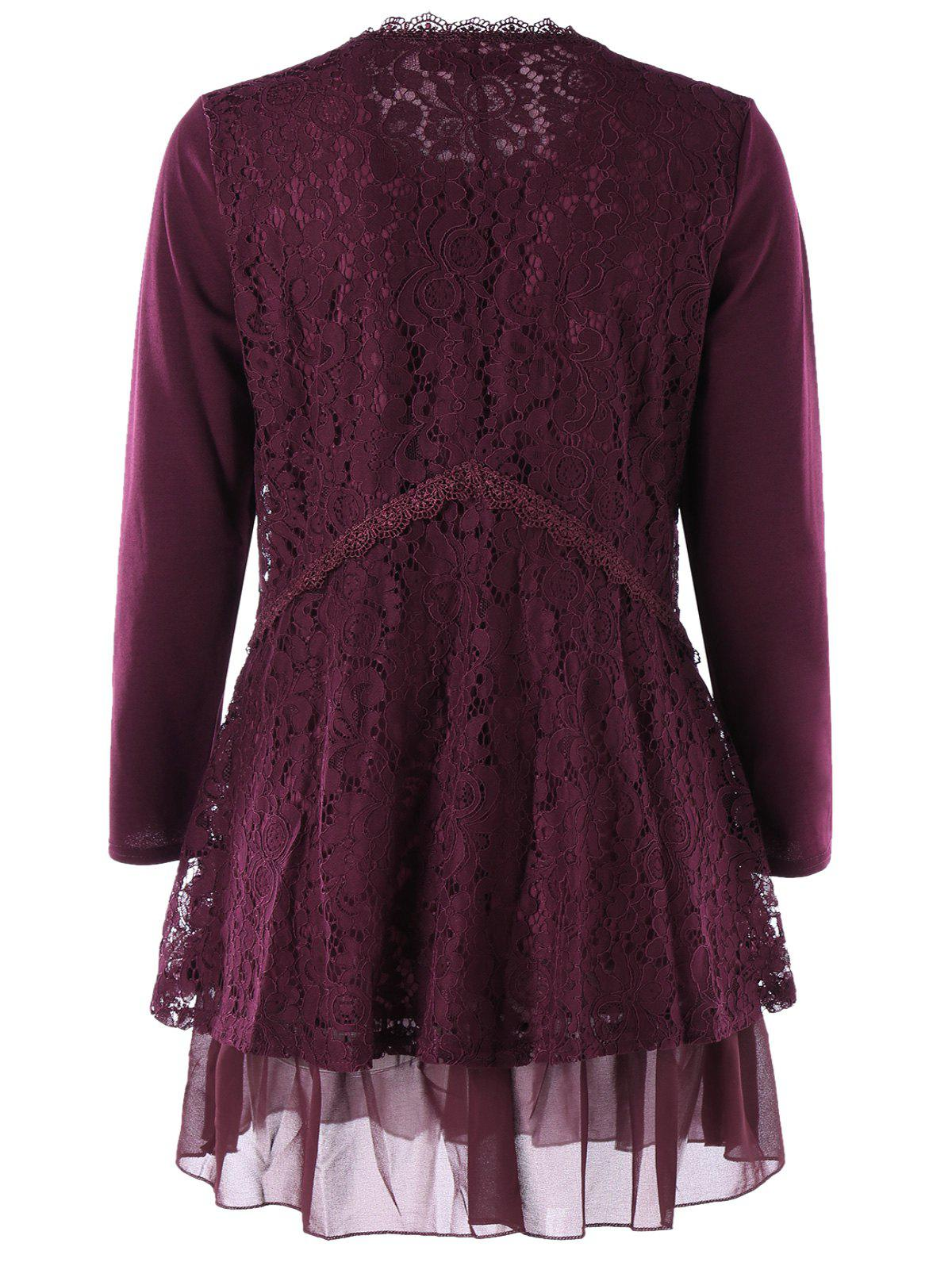 Plus Size Lace Trim Layered Tunic Blouse - WINE RED 2XL