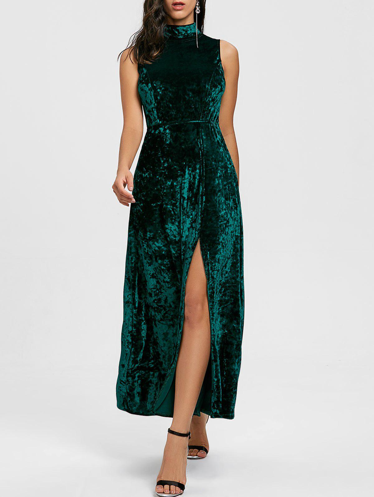High Slit Backless Party Maxi Dress - BLACKISH GREEN L