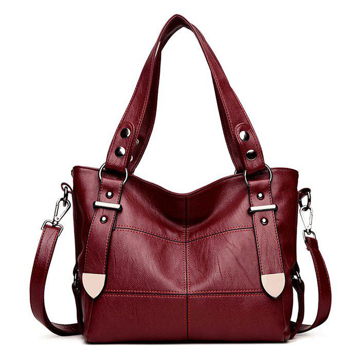 Geometric Stitching Faux Leather Handbag - WINE RED