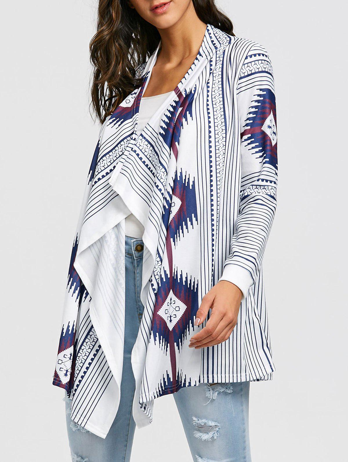 Tribal Print Stripe Draped Tunic Cardigan - WHITE M