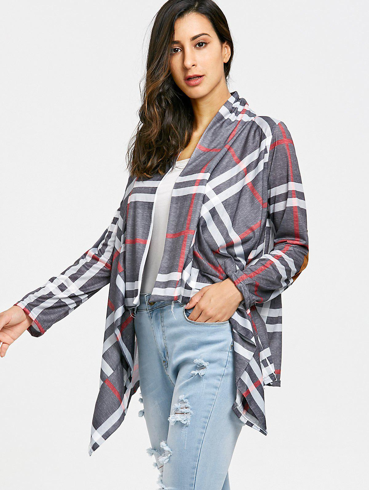 Draped Front Elbow Patch Plaid Cardigan - GRAY L