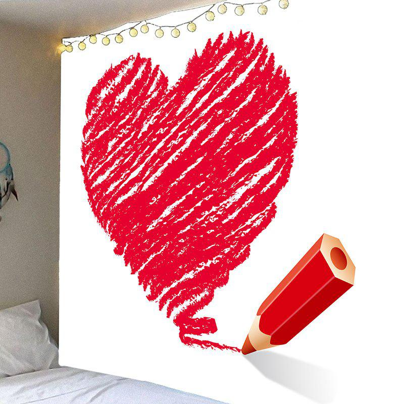 Valentine's Day Crayon Heart Printed Wall Art Tapestry valentine s day wine glass heart printed wall art tapestry
